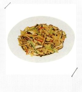 Stir Fried Slices Of Dried Tofu, Golden Needle Mushroom, Bamboo Shoots And Shiitake Mushrooms